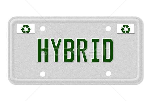 Hybride voiture plaque d'immatriculation mot gris recycler Photo stock © karenr