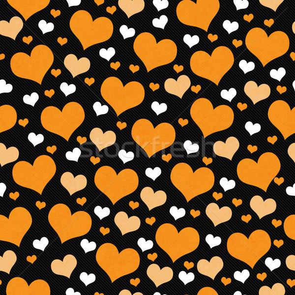 Arancione bianco nero cuori piastrelle pattern Foto d'archivio © karenr