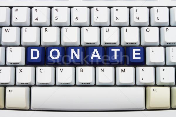 Donaties internet sleutels woord Stockfoto © karenr