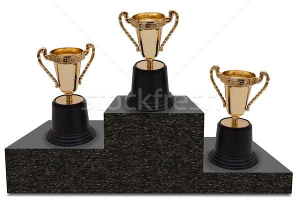 Eerste tweede derde plaats drie goud Stockfoto © karenr