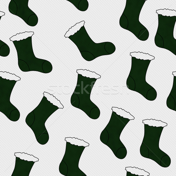 Green Christmas Stocking Textured Fabric Background Stock photo © karenr