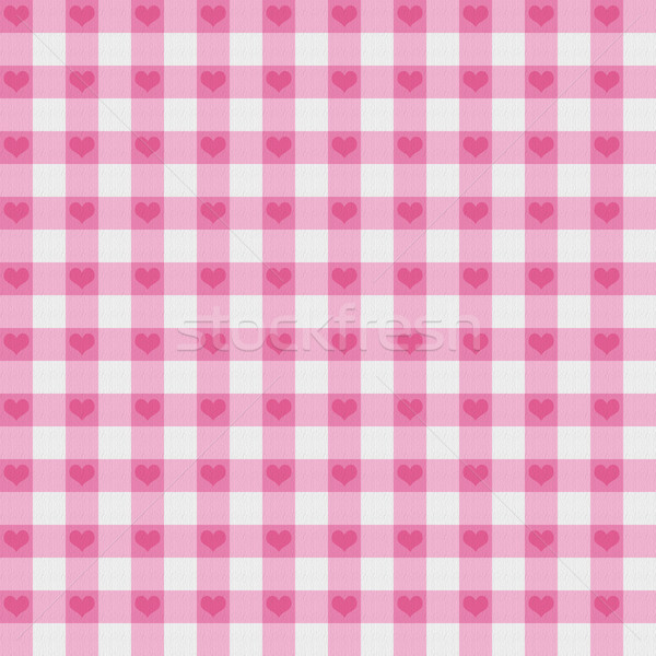 Stock photo: Pink Gingham Fabric with Hearts Background