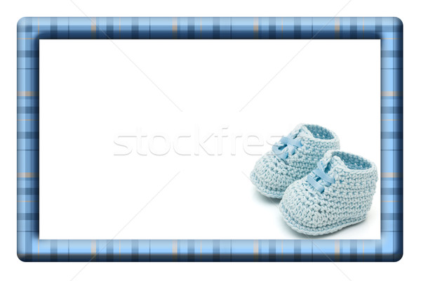Blue and White Baby Frame for your message or invitation Stock photo © karenr