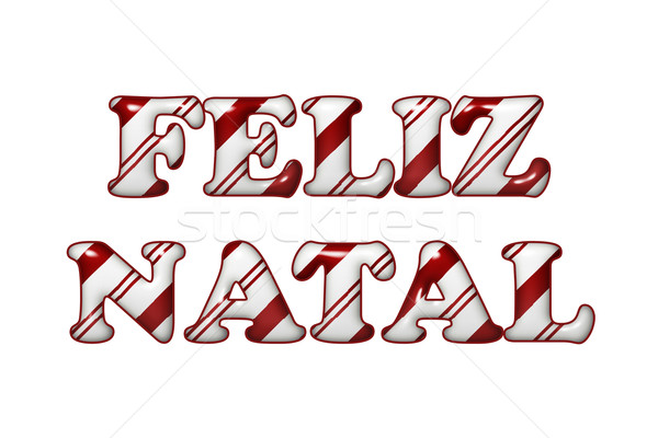 Feliz Natal - Happy Holidays in Candy Cane Colors Stock photo © karenr
