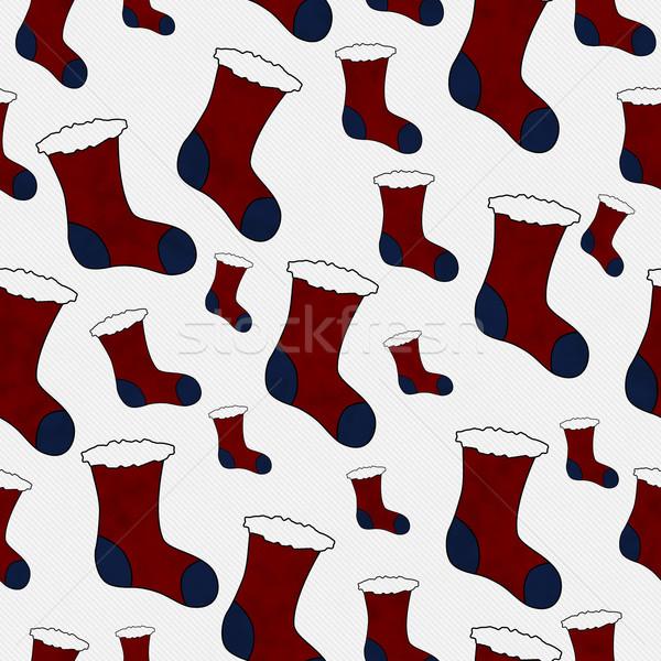 красный синий Рождества чулок ткань Сток-фото © karenr