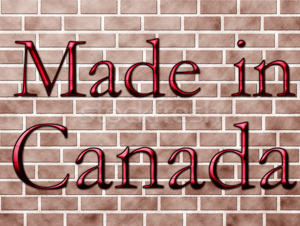 Canadá palavras vermelho parede de tijolos edifício Foto stock © karenr