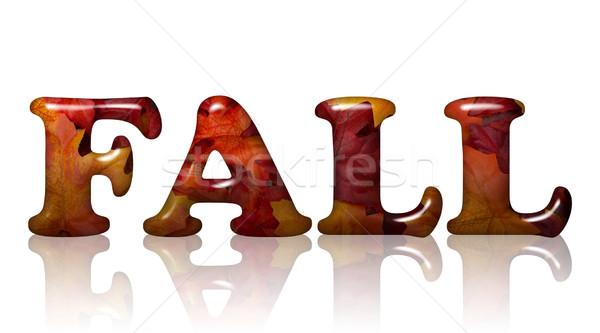 Düşmek yaprakları kelime 3D harfler turuncu Stok fotoğraf © karenr
