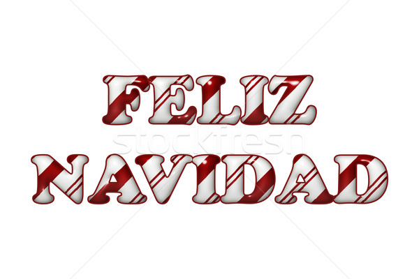 Feliz Navidad - Happy Holidays in Candy Cane Colors Stock photo © karenr