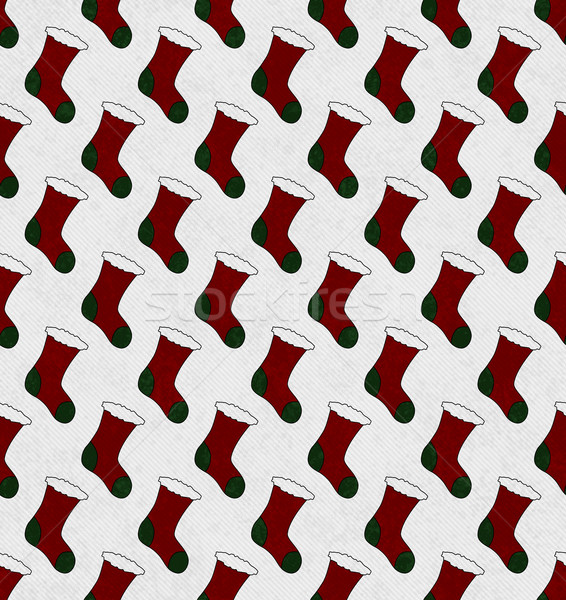 Red and Green Christmas Stocking Textured Fabric Background Stock photo © karenr