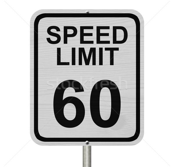 Limite de velocidade 60 assinar branco americano placa sinalizadora Foto stock © karenr