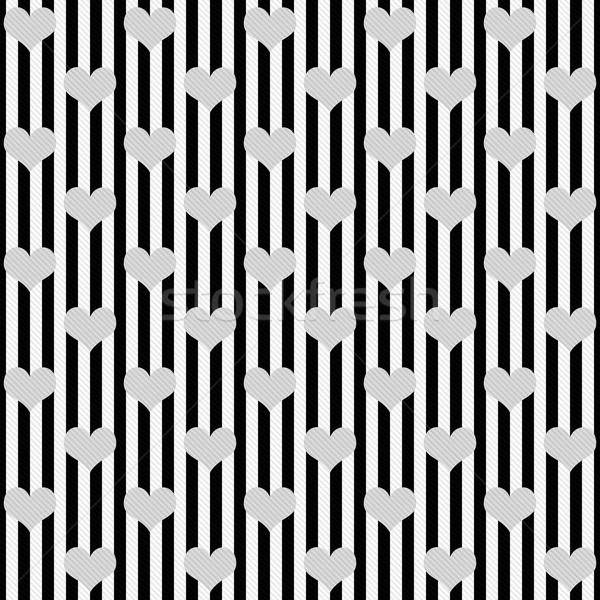 Stock fotó: Feketefehér · szívek · csíkok · mintázott · szövet · végtelenített