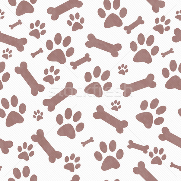 Brown  and White Dog Paw Prints and Bones Tile Pattern Repeat Ba Stock photo © karenr
