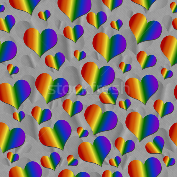 LGBT Pride Colored Hearts over Gray Tile Pattern Repeat Backgrou Stock photo © karenr