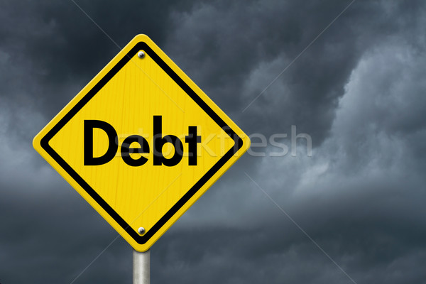 Debt Warning Road Sign Stock photo © karenr