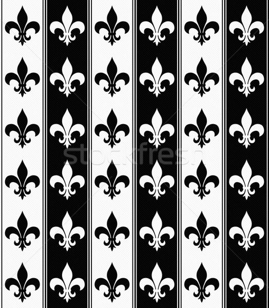 Black and White Fleur De Lis Textured Fabric Background Stock photo © karenr