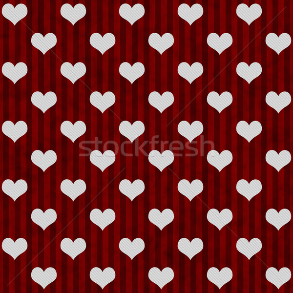 White Hearts and Red Stripes Textured Fabric Background Stock photo © karenr