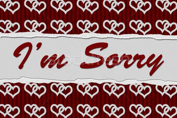 Siralmas üzenet piros szívek szakadt szöveg Stock fotó © karenr