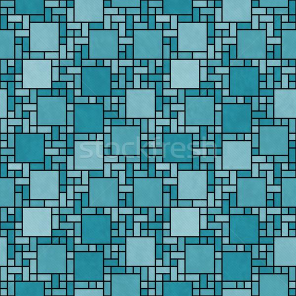 Teal and Black Square Mosaic Abstract Geometric Design Tile Patt Stock photo © karenr