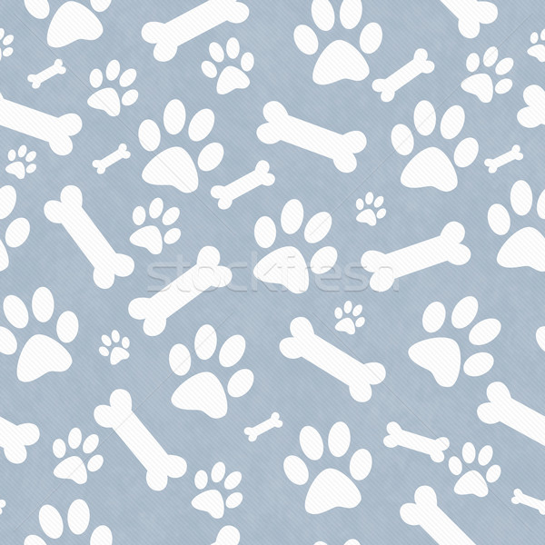 Blue and White Dog Paw Prints and Bones Tile Pattern Repeat Back Stock photo © karenr