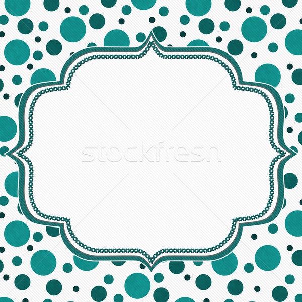 Teal and White Polka Dot Frame Background Stock photo © karenr