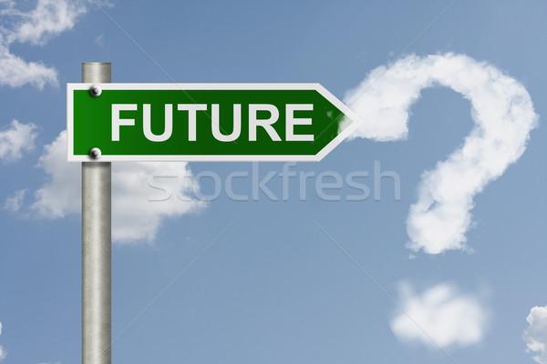 Wat toekomst amerikaanse verkeersborden woord hemel Stockfoto © karenr