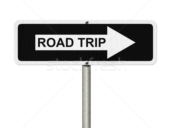 дороги поездку знак белый черный улице подписать Сток-фото © karenr