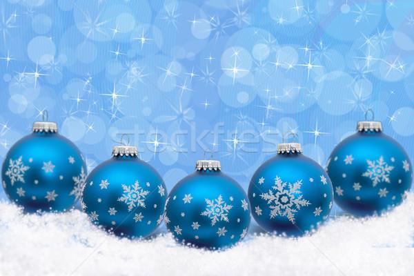 Navidad tiempo turquesa azul adornos Foto stock © karenr