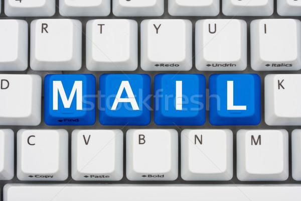 Posta bilgisayar klavye mavi tuşları yazım Internet Stok fotoğraf © karenr