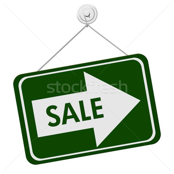 продажи знак зеленый белый слово стрелка Сток-фото © karenr