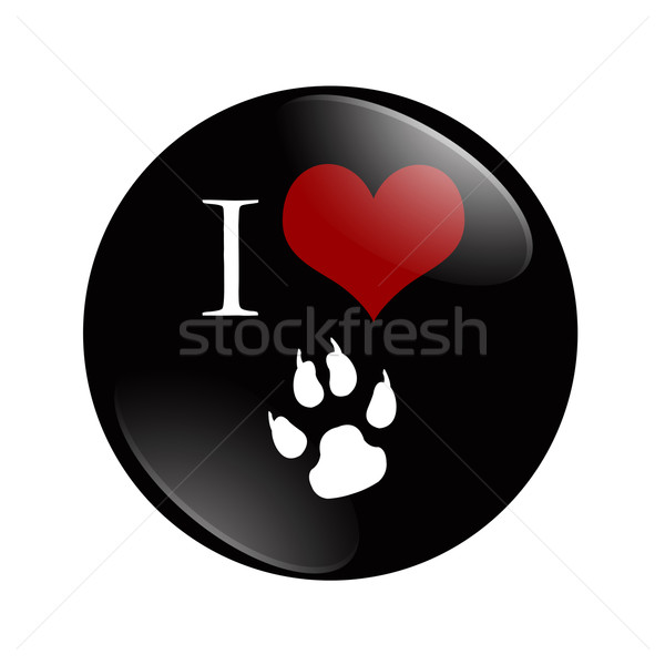 Sevmek köpekler düğme siyah kırmızı köpek Stok fotoğraf © karenr