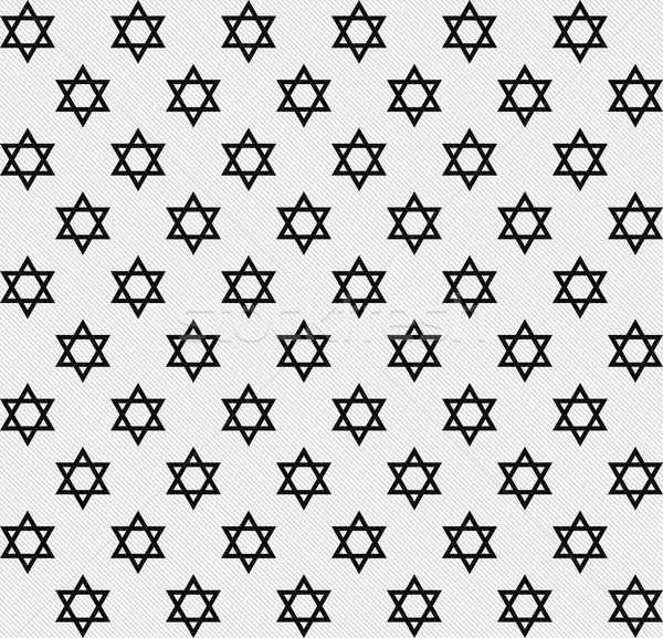 Black and White Star of David Patterned Textured Fabric Backgrou Stock photo © karenr