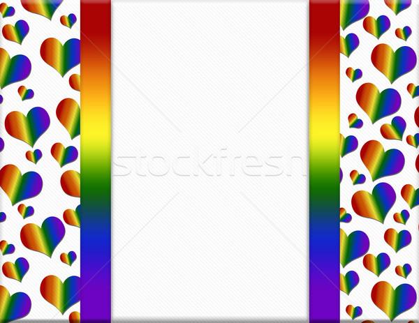 LGBT Pride Colored Hearts Frame Background Stock photo © karenr