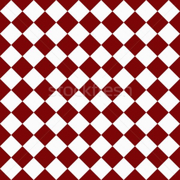 Donkere Rood witte diagonaal weefsel Stockfoto © karenr