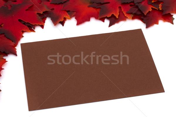 Outono tempo mensagem vermelho cartão em branco Foto stock © karenr