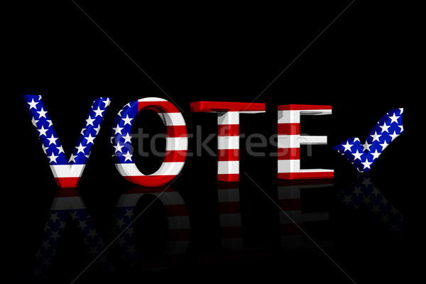 Amerikaanse stemming woord 3D Amerikaanse vlag kleuren Stockfoto © karenr