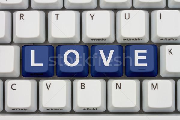 Talál szeretet internet számítógép billentyűzet kulcsok szó Stock fotó © karenr