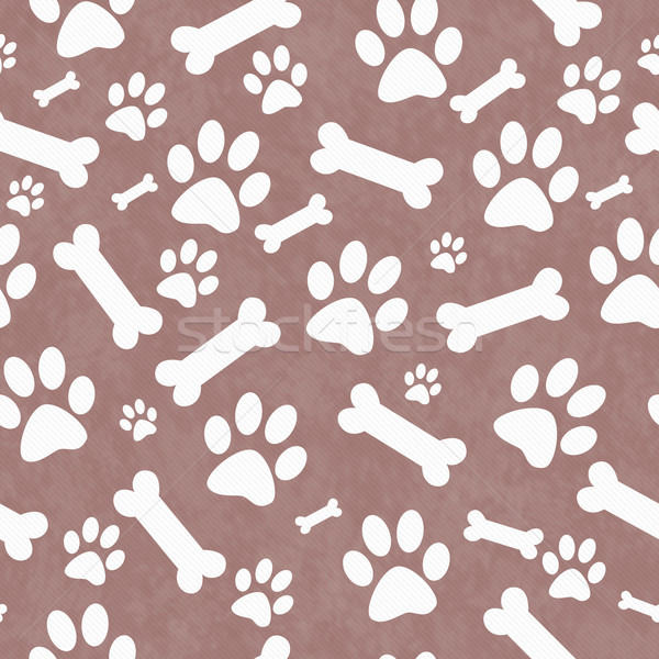 Brown and White Dog Paw Prints and Bones Tile Pattern Repeat Bac Stock photo © karenr