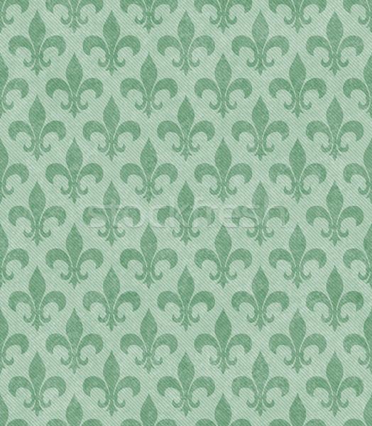 Green Fleur De Lis Textured Fabric Background Stock photo © karenr