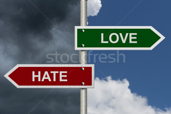 Szeretet gyűlölet piros zöld utca feliratok Stock fotó © karenr