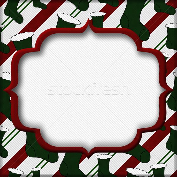 Рождества время красный зеленый чулки центр Сток-фото © karenr