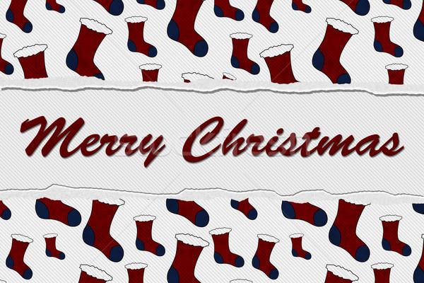 веселый Рождества сообщение красный синий Torn Сток-фото © karenr