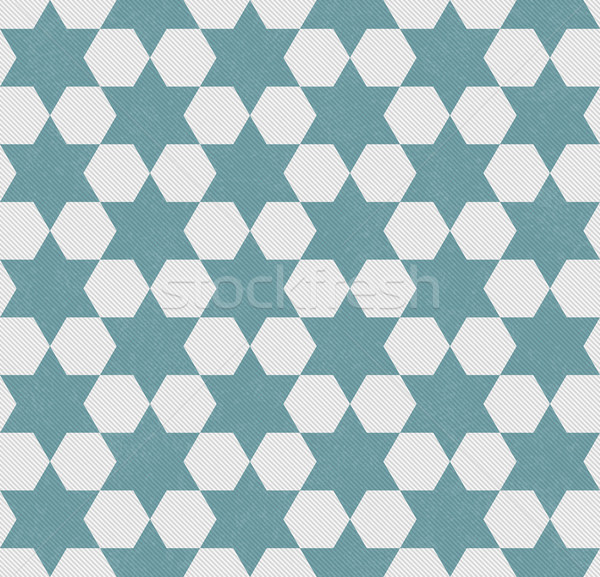 Blue and White Hexagon Patterned Textured Fabric Background Stock photo © karenr