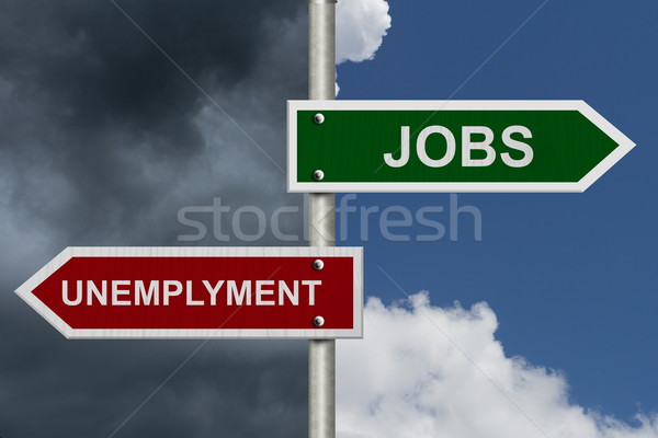 Jobs werkloosheid Rood groene straat borden Stockfoto © karenr
