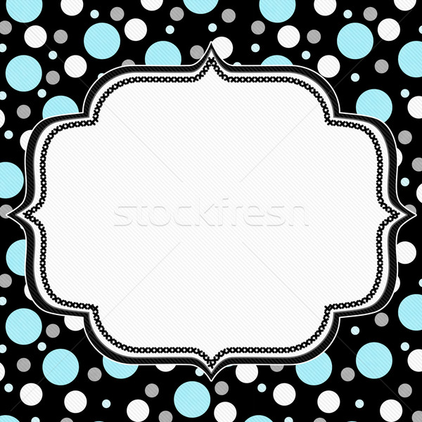 Teal, White and Black Polka Dot Frame Background Stock photo © karenr