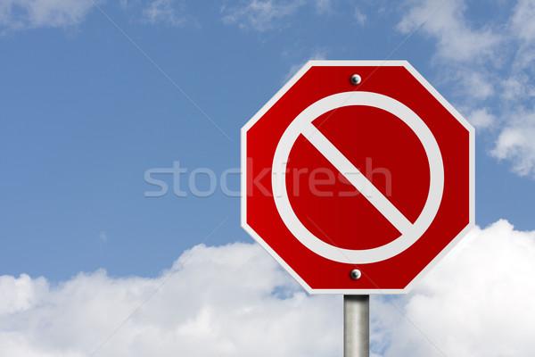 Geen teken amerikaanse weg stopteken hemel Stockfoto © karenr