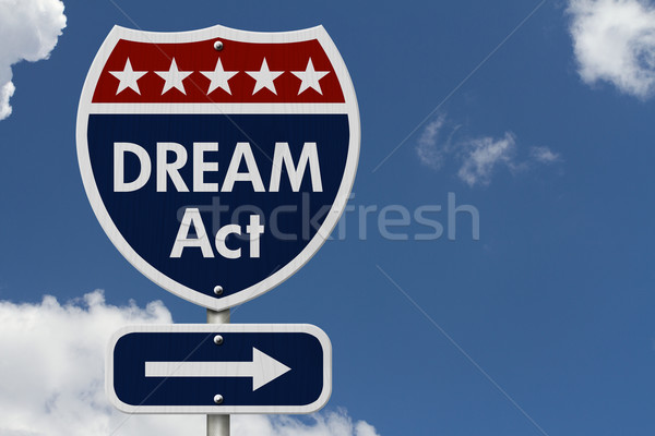 Americano sonho agir rodovia placa sinalizadora vermelho Foto stock © karenr