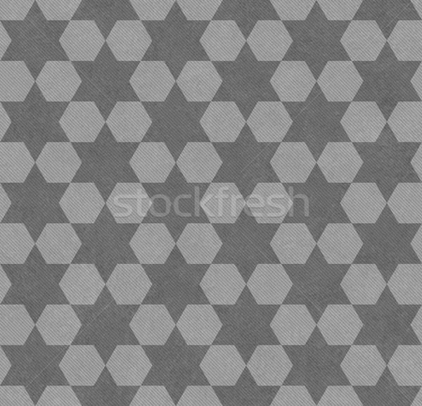 Grijs zeshoek weefsel naadloos textuur Stockfoto © karenr