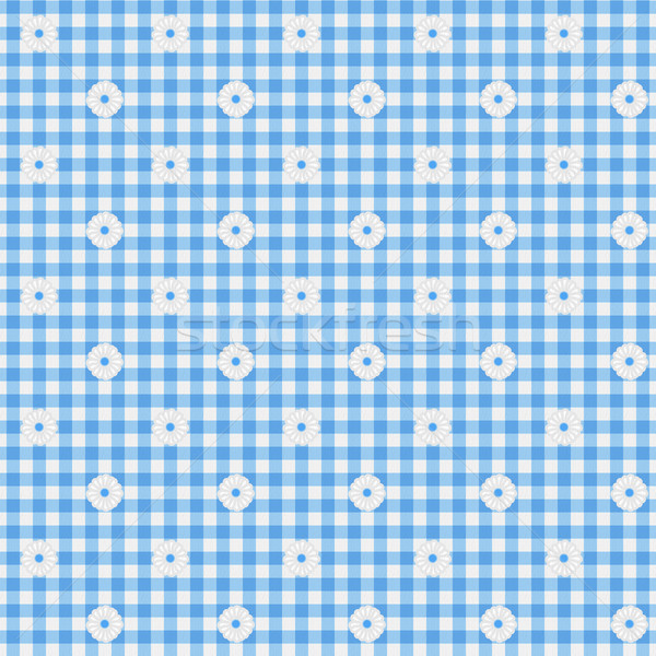 Blue Gingham Fabric with Flowers Background Stock photo © karenr