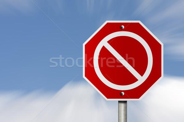 нет знак американский дороги знак остановки небе Сток-фото © karenr