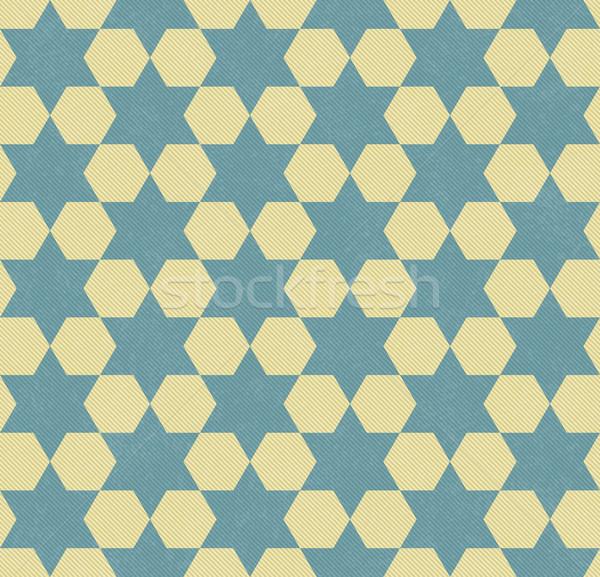 Geel zeshoek weefsel naadloos textuur Stockfoto © karenr